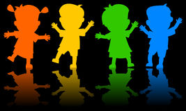 Children Dancing Silhouettes Stock Images