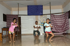 Children dancing on stage for class Stock Photo