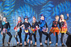 Children dancing on stage. Dance performance on stage, Festival of children's dance groups, St. Petersburg, Russia Stock Photography