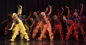 Children dancing on stage. Dance performance on stage, Festival of children's dance groups, St. Petersburg, Russia Royalty Free Stock Photography