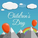 Children day concept background, cartoon style royalty free illustration