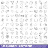 100 children day icons set, outline style Royalty Free Stock Photo