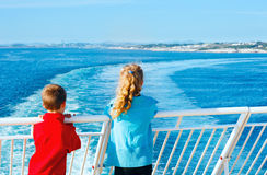 Children on the deck of the ship Stock Photos