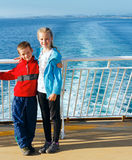 Children on the deck of ship Stock Images