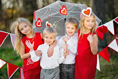 Children with decor stock photo