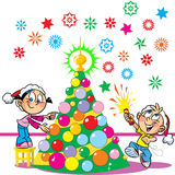 Children decorate the Christmas tree. In the illustration, the children decorate the Christmas tree. Boy and girl funny and amusing. The boy in the hands of Stock Photo