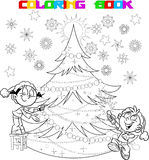 Children decorate the Christmas tree. In the illustration, the children decorate the Christmas tree.The boy in the hands of party poppers. Illustration done in Stock Photos