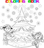 Children decorate the Christmas tree. In the illustration, the children decorate the Christmas tree.The boy in the hands of party poppers. Illustration done in Royalty Free Stock Photo
