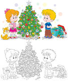 Children decorate Christmas tree. Little girl and boy with their kitten decorate a fir to holiday, black and white outline illustration isolated on a white Royalty Free Stock Images