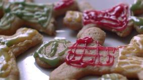 Children decorate cookies stock video