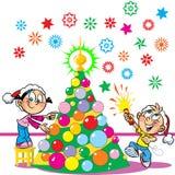 Children Decorate The Christmas Tree Stock Photo
