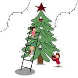 Children decorate the tree. Vector illustration for your design. vector illustration