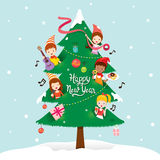 Children And Decorations On New Year Tree. Happy New Year Merry Christmas Xmas Objects Festive Celebrations vector illustration