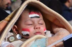 Children of the demonstrators in Alexandria stock image
