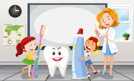 Children and dentist in the room Stock Images