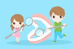Children with denture Royalty Free Stock Images
