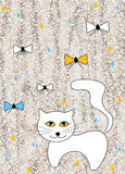 Children design with animals. Design for children with white cat affectionate Royalty Free Stock Photo