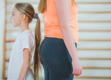 Children Differences. In Weight and Size. Children in Gymnastic Room Royalty Free Stock Photo