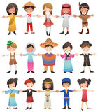 Multicultural children of the world. Children of different nationalities holding hands together. EPS file available Royalty Free Stock Photos