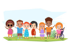 Children of different disabilities and healthy children posing, stock photography