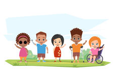 Children of different disabilities pose, greet Stock Photo