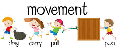 Children in different movement royalty free illustration