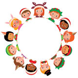 Children of different nationalities in the costumes of Christmas in the circle  on white background Stock Photo