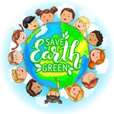 Children different nationalities hold planet. royalty free illustration