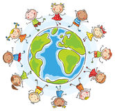 Children of different nationalities round the globe vector illustration