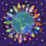 Children of different nationalities round the globe royalty free illustration