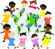 Children of different races around the map of our green planet w Stock Image