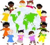 Children of different races around the map Stock Photo