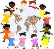 Children of different  races  around  planet Stock Image