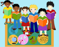 Children of different races with books in hands near board. Children of different races with books in hands near a school board, school subjects badges Stock Photos
