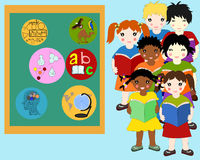 Children of different races with books in hands near a  board Royalty Free Stock Image