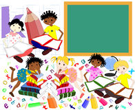 Children of different races in the books of the school board, Royalty Free Stock Photo