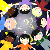 Children of different races in a circle on a background Stock Image