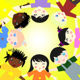 Children of different races  in a circle on sunny backgr Stock Photos
