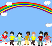 Children of different races are in the clouds under the rainbow Stock Photo