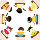 Children of different races are on the green planet Royalty Free Stock Photography