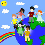 Children of different races on a  planet Stock Photography