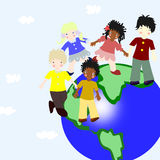 Children of different races on a planet Royalty Free Stock Photography