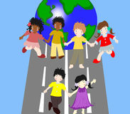Children of different races are on the road Stock Image