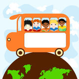 Children of different races in a school bus traveling Royalty Free Stock Image