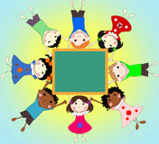 Children of different races together in a circle with the school Royalty Free Stock Images