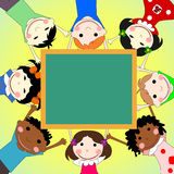 Children of different races together in a circle with the school Royalty Free Stock Photography