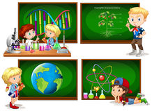 Children and different school subjects Stock Photos