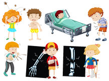 Children with different sickness Royalty Free Stock Images