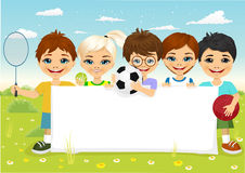 Children with different sports equipment. Group of caucasian children with different sports equipment holding a blank board copyspace for text Royalty Free Stock Photography