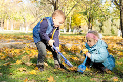 Children digging outdoors with spades. In an autumn woodland park with copyspace stock image